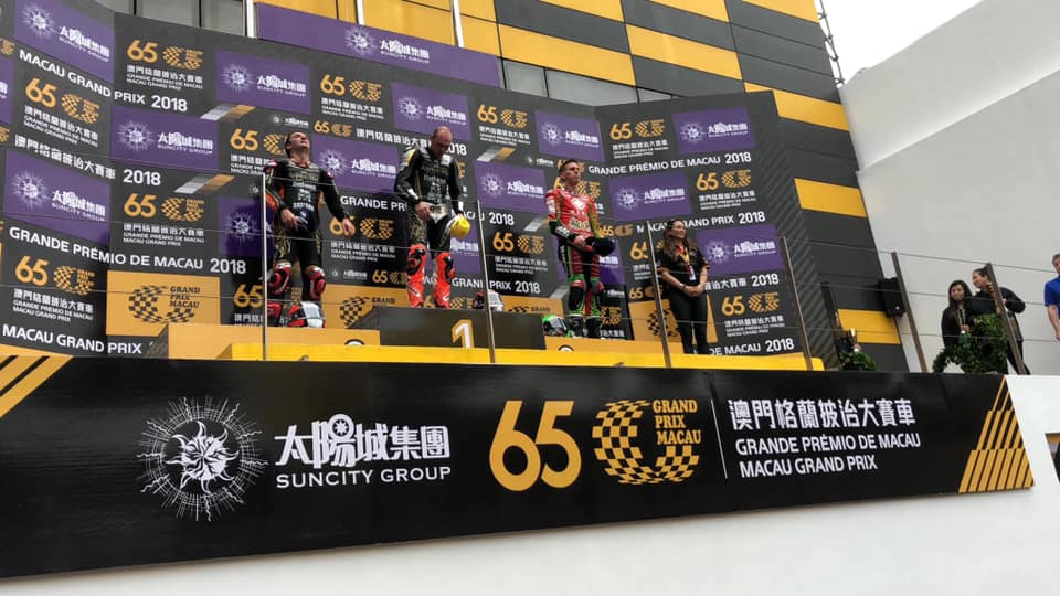 Peter Hickman winning the Macau GP on The PMR Pace Products Thumb Brake